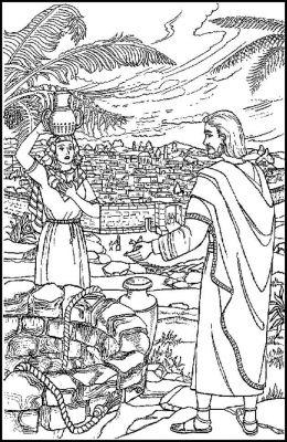 kleurplaten nt samaritaanse vrouw ontmoet jezus